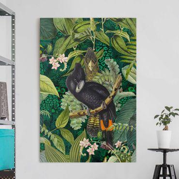Stampa su tela - Colorato collage - Cacatua In The Jungle - Verticale 3:2
