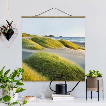 Quadro su tessuto con stecche per poster - Dune ed erbe Al Mare - Quadrato 1:1