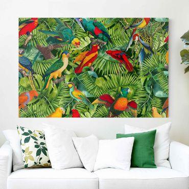 Stampa su tela - Colorato collage - Parrot In The Jungle - Orizzontale 2:3