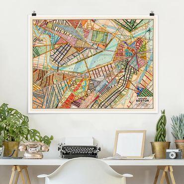 Poster - Mappa Moderno Boston - Orizzontale 3:4