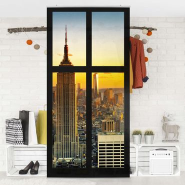 Tenda a pannello - Window View Manhattan Skyline sunset 250x120cm