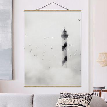 Foto su tessuto da parete con bastone - Faro Nella Nebbia - Verticale 4:3