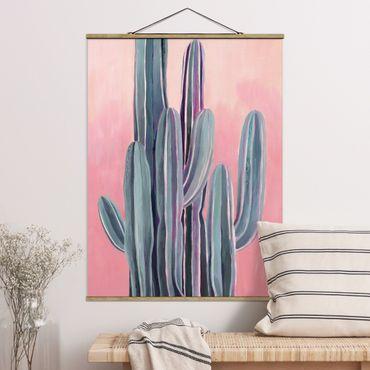 Foto su tessuto da parete con bastone - Cactus su Rosa II - Verticale 4:3