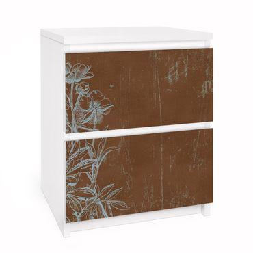 Carta adesiva per mobili IKEA - Malm Cassettiera 2xCassetti - Flowers Sketch