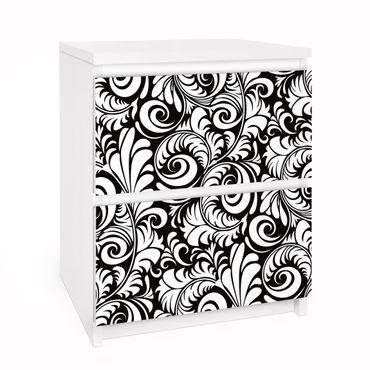 Carta adesiva per mobili IKEA - Malm Cassettiera 2xCassetti - Black and White Leaves Pattern