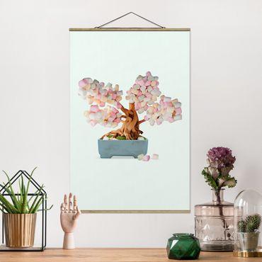 Foto su tessuto da parete con bastone - Bonsai con marshmallow - Verticale 3:2