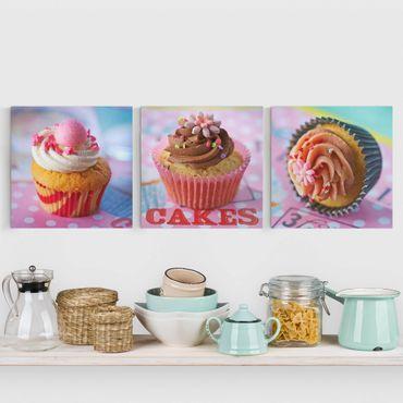 Stampa su tela 3 parti - Colorful Cupcakes - Quadrato 1:1