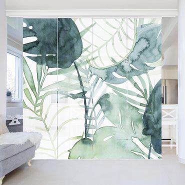Tenda scorrevole set - Fronde di palma in acquerello II