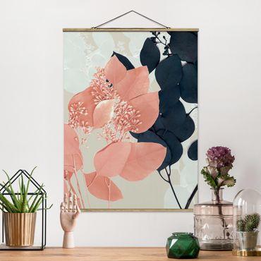 Foto su tessuto da parete con bastone - Foglie Indigo & Rouge III - Verticale 4:3
