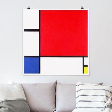 Poster - Piet Mondrian - Composizione Rosso Blu Giallo - Quadrato 1:1