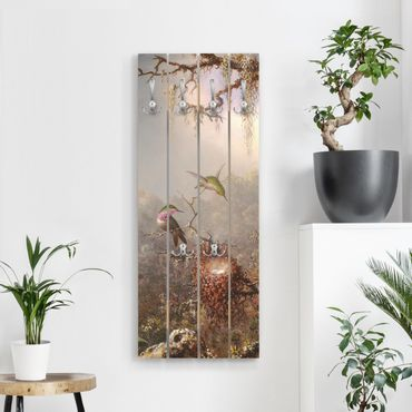 Appendiabiti in legno - Martin Johnson Heade - orchidea e Tre colibrì - Ganci cromati - Verticale