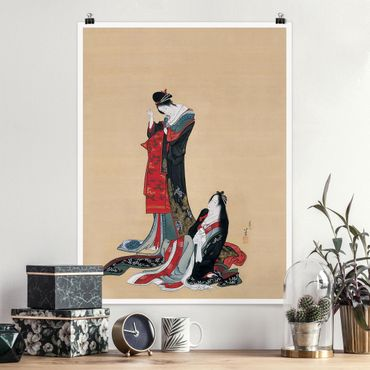Poster - Katsushika Hokusai - Due Courtesans - Verticale 4:3