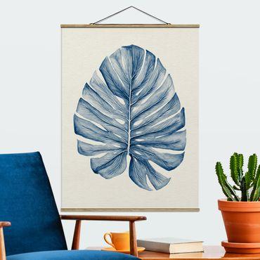 Foto su tessuto da parete con bastone - Disegno tropicale Monstera In Indigo - Verticale 4:3