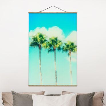 Foto su tessuto da parete con bastone - Palme contro cielo blu - Verticale 3:2