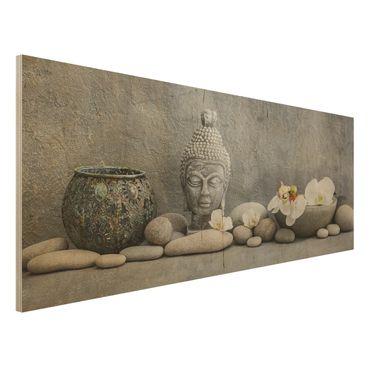 Stampa su legno - Zen Buddha con orchidee bianche - Panoramico
