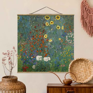 Foto su tessuto da parete con bastone - Gustav Klimt - Giardino Girasoli - Quadrato 1:1
