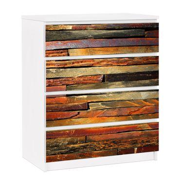 Carta adesiva per mobili IKEA - Malm Cassettiera 4xCassetti - Stack of Planks