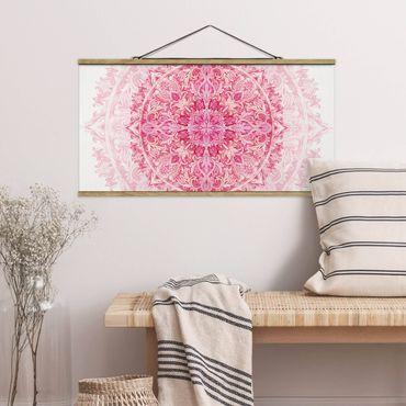 Foto su tessuto da parete con bastone - Mandala Acquerello Ornamento Rosa - Orizzontale 1:2