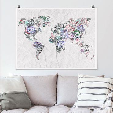 Poster - Timbro del passaporto Mappa del mondo - Orizzontale 3:4