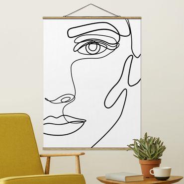 Foto su tessuto da parete con bastone - Line art ritratto Donna Bianco e nero - Verticale 4:3