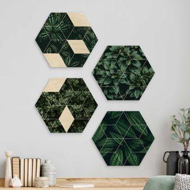 Esagono in legno - Green Leaves Geometry Set I