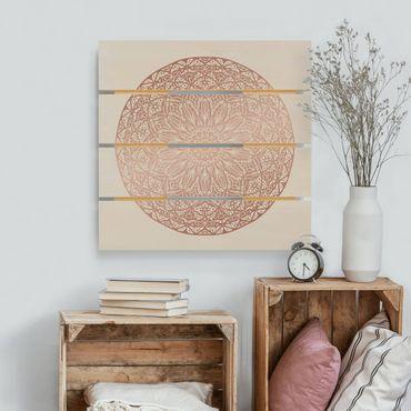 Stampa su legno - Mandala Ornament In Rame Oro - Quadrato 1:1