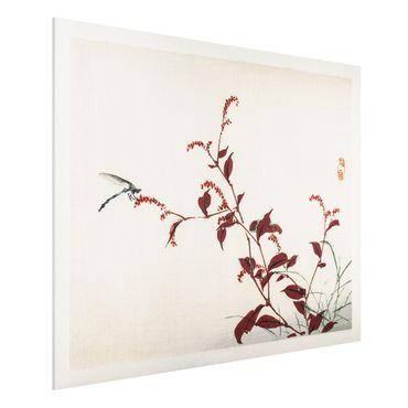 Stampa su Forex - Asian Vintage Disegno Red Branch con libellula - Orizzontale 3:4