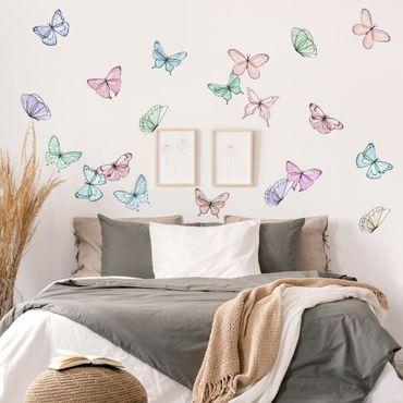 Adesivo murale - Farfalle Acquarello Pastel Set
