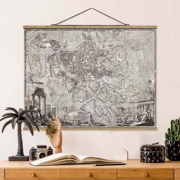 Foto su tessuto da parete con bastone - Vintage Mappa Roma - Orizzontale 3:4