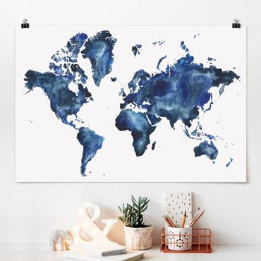 Poster - Water World Map Luce - Orizzontale 2:3
