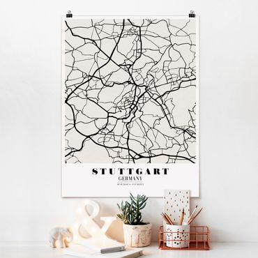 Poster - Mappa Stoccarda - Classic - Verticale 4:3