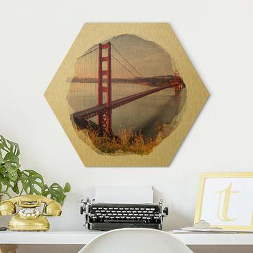 Esagono in Alu-dibond - Acquerelli - Golden Gate Bridge di San Francisco