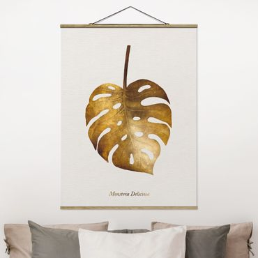Foto su tessuto da parete con bastone - Gold - Monstera - Verticale 4:3