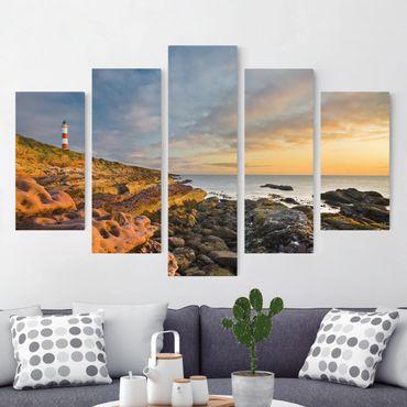 Stampa su tela 5 parti - Tarbat Ness Sea & lighthouse at sunset
