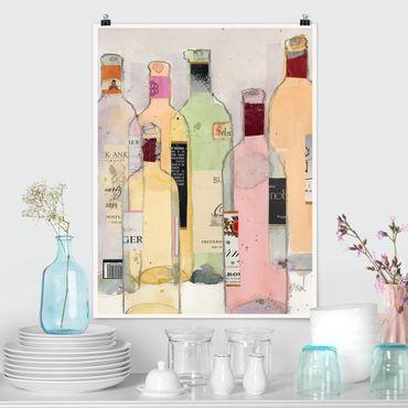 Poster - Bottiglie di vino in acquerello I - Verticale 4:3