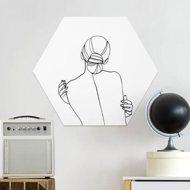 Esagono in forex - Line Art Woman Back Bianco e nero