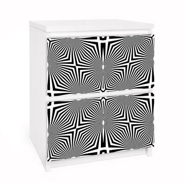Carta adesiva per mobili IKEA - Malm Cassettiera 2xCassetti - Abstract ornament black and white