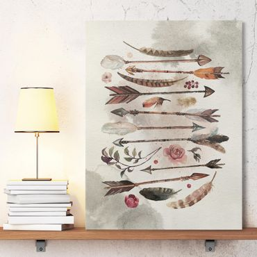 Stampa su tela - Boho Arrows And Feathers - Watercolor - Verticale 3:4