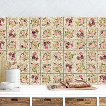 Rivestimento cucina - Piastrelle con rose in vintage