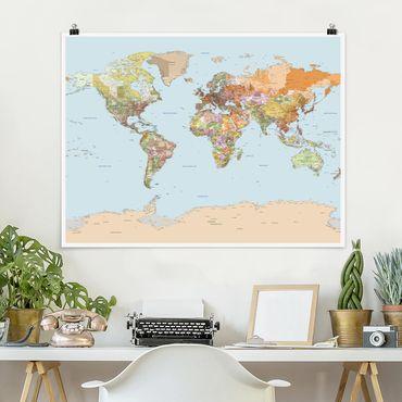 Poster - Mappa politica del mondo - Orizzontale 3:4