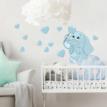 Adesivo murale bambini - Baby elefantino blu con cuori