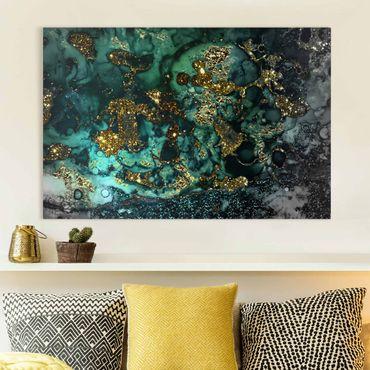 Stampa su tela - Oro Isole del Mar astratta - Orizzontale 2:3