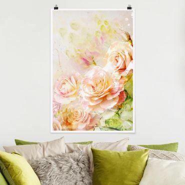 Poster - Rose dell'acquerello Composizione - Verticale 3:2