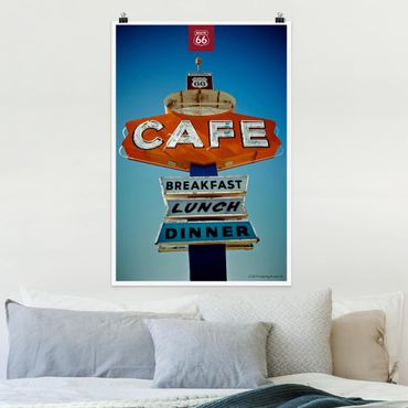 Poster - Route 66 - Shield Café - Verticale 3:2