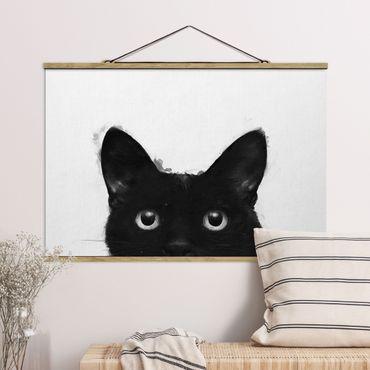 Foto su tessuto da parete con bastone - Laura Graves - Illustrazione pittura Gatto nero su bianco - Orizzontale 2:3