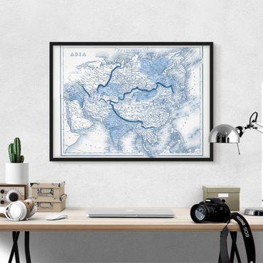 Poster con cornice - Map In Blue Tones - Asia - Orizzontale 3:4