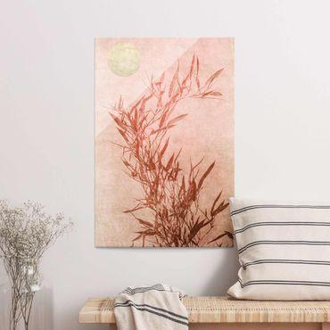 Quadro in vetro - Sole dorato con bambù rosa - Verticale 3:2