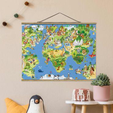 Foto su tessuto da parete con bastone - Grande e divertente Il mappamondo - Orizzontale 3:4