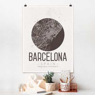 Poster - Mappa Barcelona - Retro - Verticale 4:3