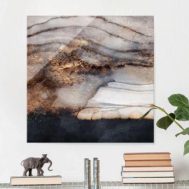 Quadro in vetro - Oro Marmo Painted - Quadrato 1:1